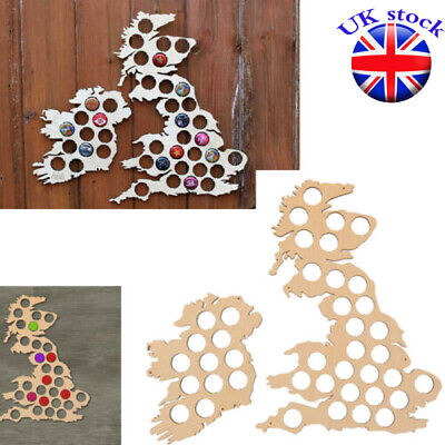 UK & Ireland Map 41 Holes Pine Wood Beer Bottle Cap Map Nail Collection Gift