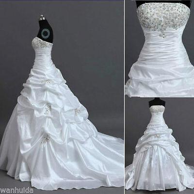 New White Ivory Wedding Dress Bridal Gown Custom Stock Size  6 8 10 12 14 16 18