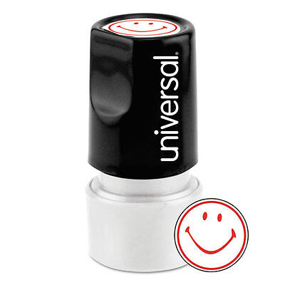 (Universal One-Color Round Message Stamp, SMILEY FACE, Pre-Inked/Re-Inkable, Red)