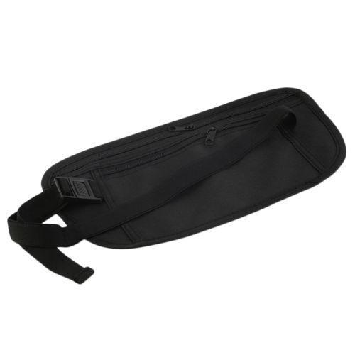 Black Travel Waist Pouch for Passport Money Belt Bag Hidden Security Wallet Us Money Belts & Wallets