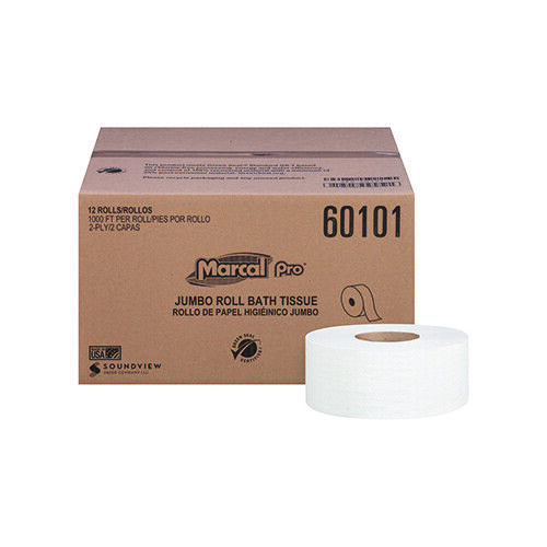 """Soundview Marcal Toilet Tissue Jumbo Roll, 1000 Count, 2 Ply, 3.3""""   12 Per Case"""