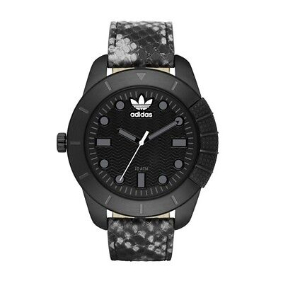 Adidas ADH3043 Manchester Stainless Steel Black Leather Python Print Watch NWT