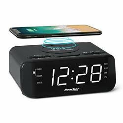Digital Radio Alarm Clock with Wireless Charging - USB Port, Large Dimmable LED