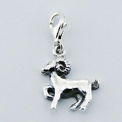 Silver charm aries zodiac charm w lobster clasp size 29mm height astrology sign