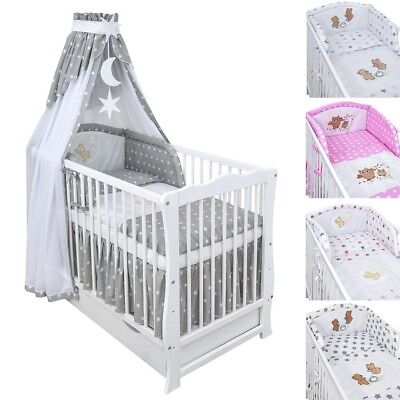 Babybett Kinderbett Weiß 120x60 Schublade Bettset Applikation komplett