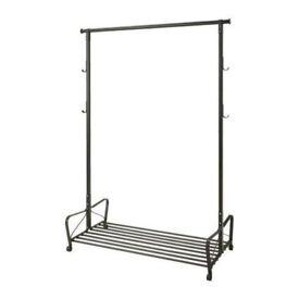 Ikea 'Portis' Black Steel Clothes Rail With Shoe Rack 119 x 60