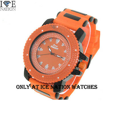 (New Ice Nation Swiss Design Men's Hip Hop Pave Look Dial Bullet Band Watch W1553)