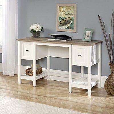 مكتب جديد Sauder 418072 Cottage Road Desk With Two Drawers In Soft White Finish NEW