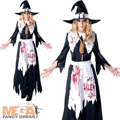 Salem Witch Halloween Costumes (Salem Witch Ladies Halloween Fancy Dress Womens Adults Horror Costume Outfit)
