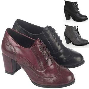 LADIES-ANKLE-BOOTS-WOMENS-BLOCK-HIGH-HEELS-SMART-OFFICE-WORK-BROGUE-SHOES-SIZE