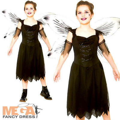 Fallen Angel Bad Dark Fairy Girls Fancy Dress Halloween Kids Childs Costume New