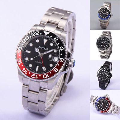 40mm Parnis Black Dial Sapphire Glass GMT Ceramic Bezel Automatic Men's Watch Black Dial Ceramic Bezel