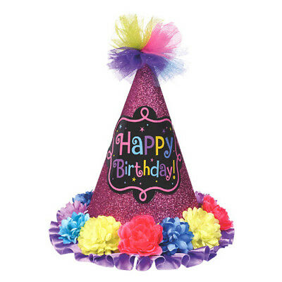HAPPY BIRTHDAY CHIC DELUXE CONE HAT ~ Party Supplies Favor Accessory - Chic Party Supplies
