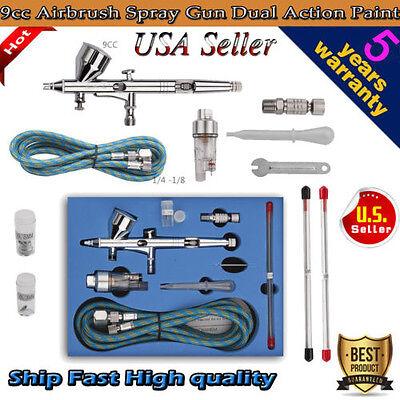 NEW 9cc Airbrush Spray Gun Dual Action Paint Art Cake Craft Air Brush Hose Kit G