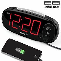 Digital Alarm Clock Dual USB Charger Simple Settings 6.5 Big LED Display Snooze