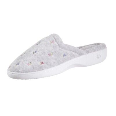 Isotoner Embroidered Terry Sole Clog Heather Grey