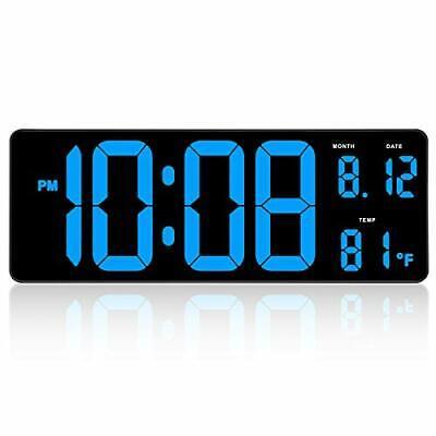 "14.5"" Extra Large LED Digital Clock w Date Indoor Temperature Display Wall Clock"