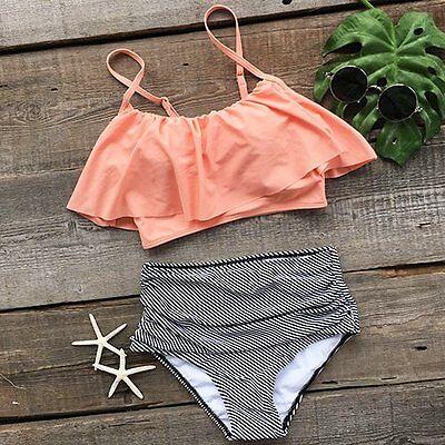 Swimwear Fashion Women Falbala High Waisted Bikini Set Push Up Swimsuit Bathing