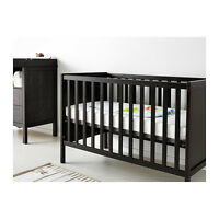 BRAND NEW 3 STAGE CRIB - still in box from Ikea (black/brown)