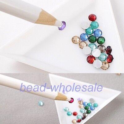 4Pcs White Rhinestones Picker Pencil Nail Art Tool Wax Pen For Craft  on Rummage