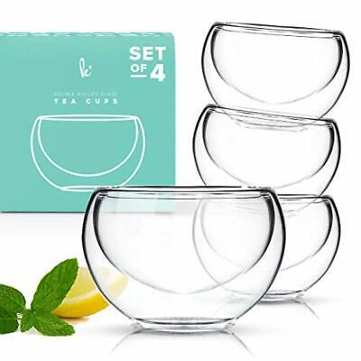 Tea Cup Set of 4 Modern Double Wall Glass Insulated Teacups Best Paired
