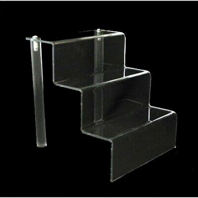 Acrylic 3 Shelf 3 Stairway Trinket Figurine Or Retail Display Stand 6 Wide