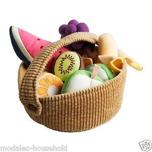 New Ikea Duktig 9 Piece Fruit Basket Set Kids  Play Soft Toy-b111