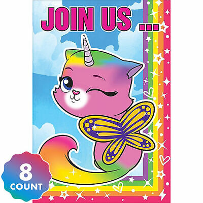 Rainbow Butterfly Unicorn Kitty Invitations 16ct - Birthday Party Supplies!](Butterfly Birthday Invitations)