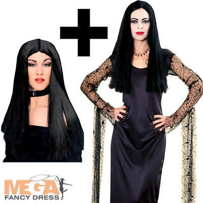 Morticia Adams Addams Family Halloween Fancy Dress Ladies Costume + Black - Adams Family Halloween Costumes