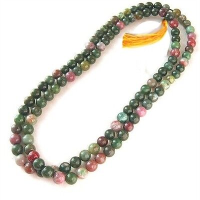 "Tibetan 108 6mm Indian Jade Prayer Beads Mala Necklace -25"" with Golden Tassel"