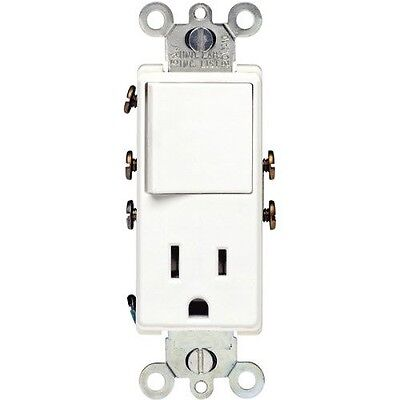 ((1 pc) Decorator Rocker Switch Combo Combination Outlet Single Pole 15A White)