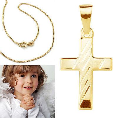 Kinder Kreuz Anhänger zur Taufe Kommunion Echt Silber 925 vergoldet mit Kette