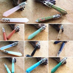 Piedra-Preciosa-Collar-Con-Colgante-Natural-Cristal-Cuarzo-Punto-De-Chakra