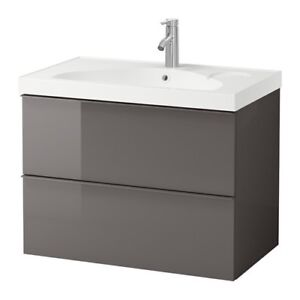 Brand New Sink cabinet - godmorgon high glass gray with sink