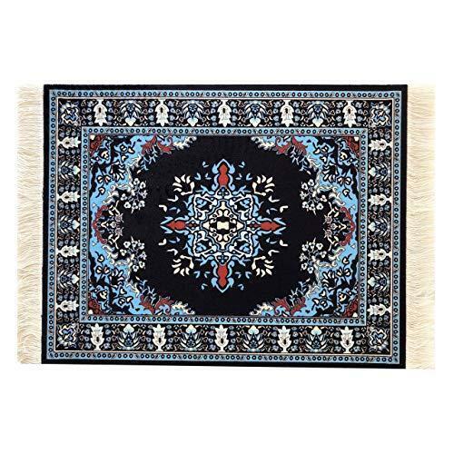 Navy Blue Oriental Rug Mousepad Turkish Style Miniature Carpet Mousemat