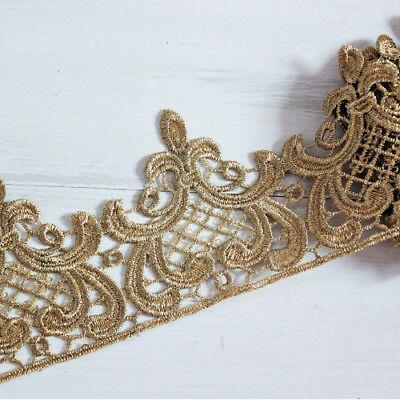 1 Yard Gold Krone Blumen Stickerei Spitzenborten DIY Handwerk 9cm Breite
