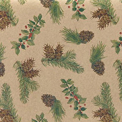 Pinecones & Holly Christmas Tissue Paper # 721 ~ 10 Large Sheets](Christmas Tissue Paper)