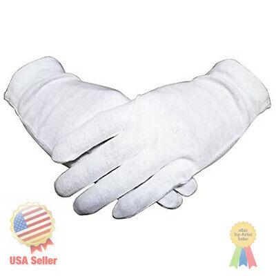 White Thin Organic Cotton Gloves For Women Dry Hands Eczema 12 Pairs Medium