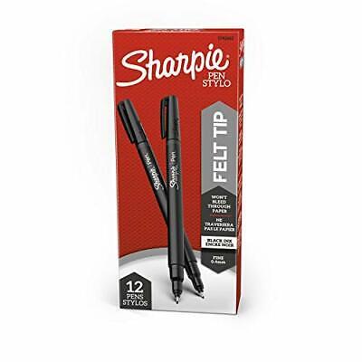 Sharpie Felt Tip Pens Fine Point Black 12 Count