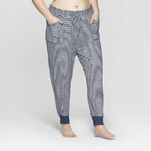 Women's Striped Plus Perfectly Cozy Lounge Jogger Pants – Stars Above Navy 1X Clothing, Shoes & Accessories