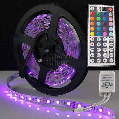 5M RGB 300 LEDs SMD 5050 Flexible Light Strip + 44 Keys IR Remote Controller New on Rummage