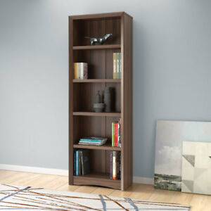 Quadra 71 in Contemporary 5-Shelf Bookcase - Walnut
