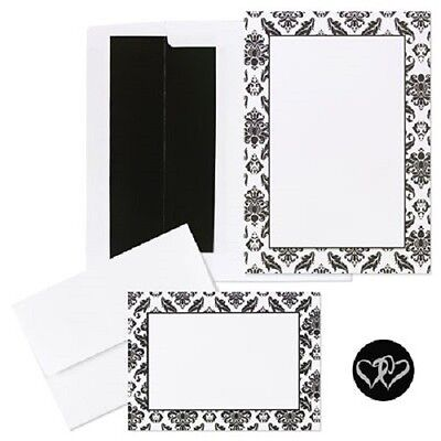 - Classic Black and White Damask Printable Wedding Invitations Kit 50/pk