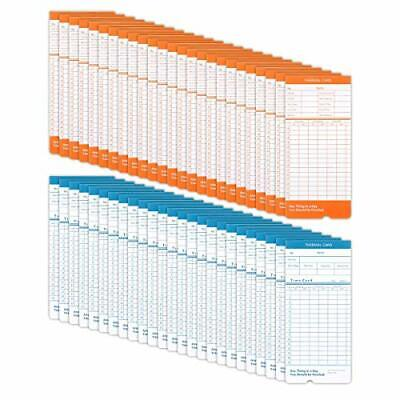 50 Pack Time Cards Monthly Format Thermal Print Paper Timesheet