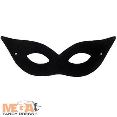 Flyaway Domino Black Eye Mask Ladies Fancy Dress Masquerade Costume Accessory