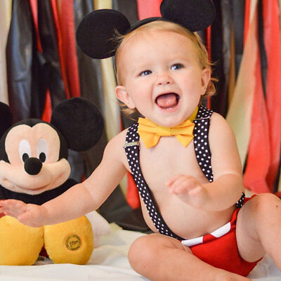 Mickey Mouse Baby Boy Birthday Cake Smash Photography Prop Costume Romper Outfit