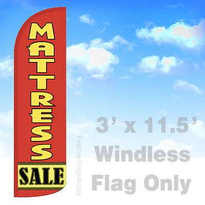 Mattress Sale - Windless Swooper Feather Flag Banner Sign 3x11.5 - Rq