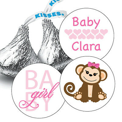108 Baby Girl Monkey Baby Shower Hershey Kiss Stickers Party Favors Decoration