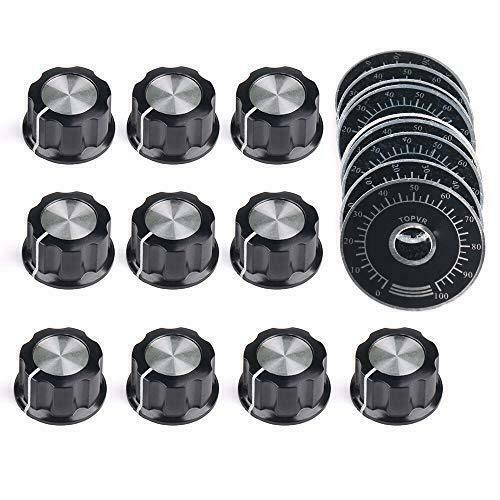 10pcs Adjustable Rotate Button Potentiometer Control Knobs and 10pcs 0-100 Scale