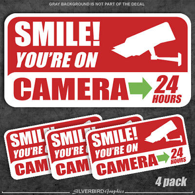 Security Warning Stickers - 4 pack - Smile you're on camera - stickers security warning alarm window decal
